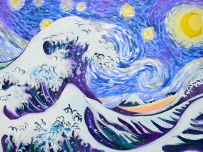 Paint Starry Night over the Great Wave image