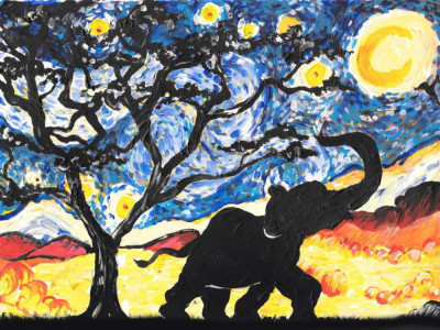 PopUp Painting: Paint Starry Night Elephant image