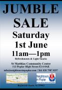Jumble Sale Saturday 1st June Poplar E14 image