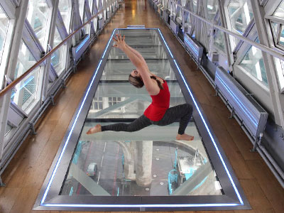 Yoga across a glass floor above the Thames picture