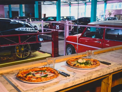 Order pizza in a car showroom image