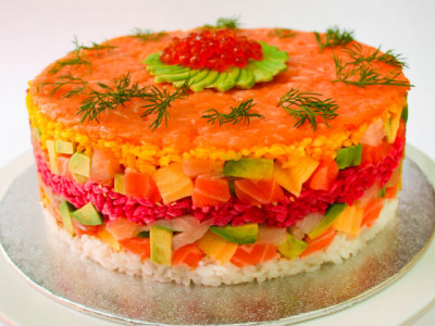 Try a cake made out of sushi  image