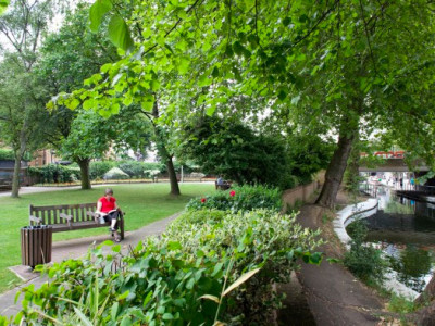 Visit a pretty canalside garden image